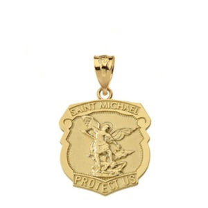Solid Gold Saint Michael Protect Us Shield Pendant